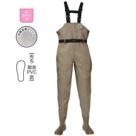 水産胴長靴 水産ナイロンウェーダー (先丸・耐油PVC底) 水産業 漁業 阪神素地 F-71