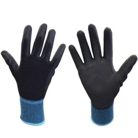ウレタン背抜き手袋10双入×5袋(50双セット) ウレタンメガ 黒色 PUコート手袋 5327 富士手袋工業