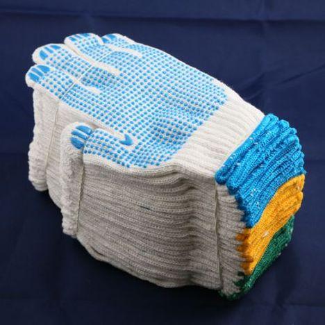 3色イボ手袋12双入×10パック(120双)   滑り止め軍手 青色 黄色 緑色の3色ボツ付