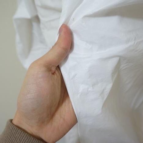 防水不織布つなぎ(10枚) 40g薄地 富士手袋工業 1780 使い捨てツナギ服 つなぎ 白衣 作業服 作業着 保護服 防護服 フード付 防塵粉塵対応 M~3L