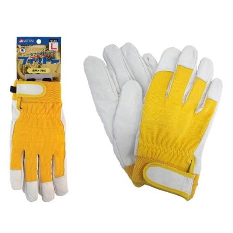 黄甲メリDX 豚皮甲メリマジック手袋(10双) 目立つ手袋 安全色手袋 黄色 視認性が良いグローブ 作業 革手袋 皮手袋 FT 1761 ミタニコーポレーション