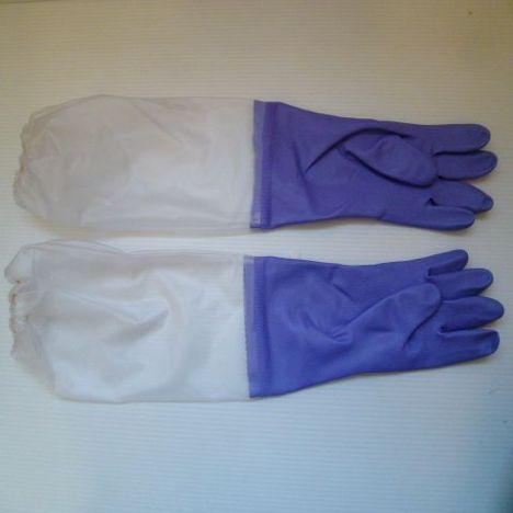 腕カバー付ビニール厚手手袋(10双)(バイオレット)