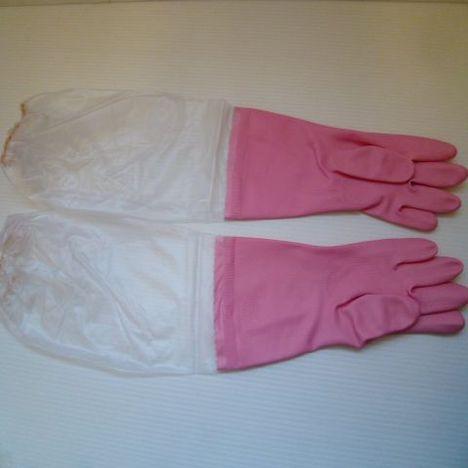 腕カバー付ビニール厚手手袋(10双)(ピンク)