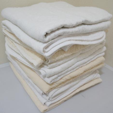 中古 養生クッションマルチマット (10枚セット) 約90cm×約190cm 白 クリーム キルティングパッド 敷きパッド 古毛布 養生 あて布団 緩衝材 運送 塗装 引越し