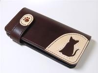■ボックス型小銭入れ付き■サドルレザー(ヌメ革)猫ロングウォレット、長財布■lw6■