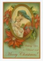 クリスマスカード/聖母子とポインセチア