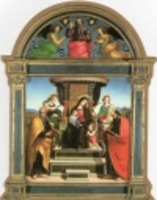 クリスマスカード/ラファエロ「玉座の聖母子と五聖人」