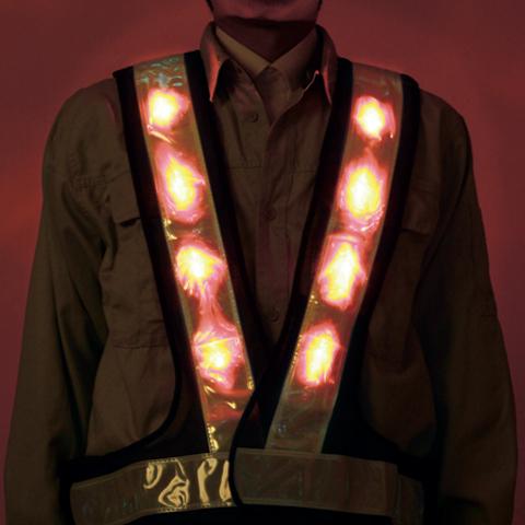超高輝度赤色LEDベスト反射テープ60mm幅