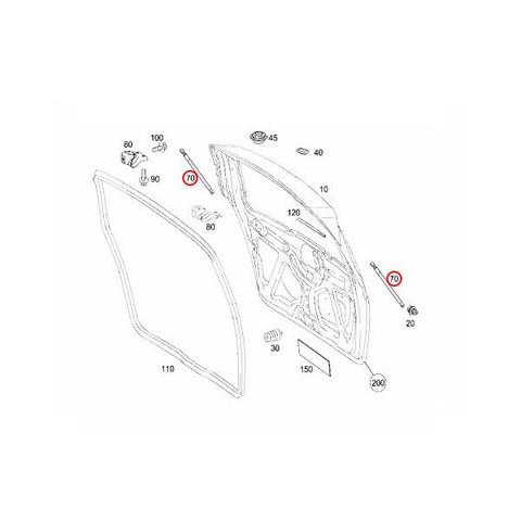 6ヶ月保証 STABILUS製 ベンツ W169 リアゲートダンパー/ガスプレッシャースプリング 左右2本セット 1697400045 1757VK A170 A180 A200