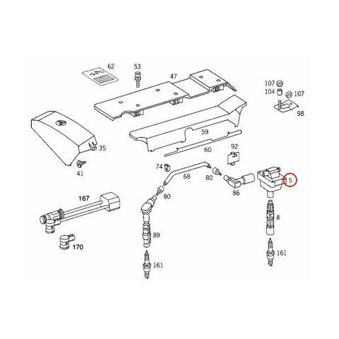 純正OEM BOSCH製 ベンツ W140 イグニッションコイル M111(直4) M104(直6) エンジン用 00119 0001587003 0001587503 0001587103