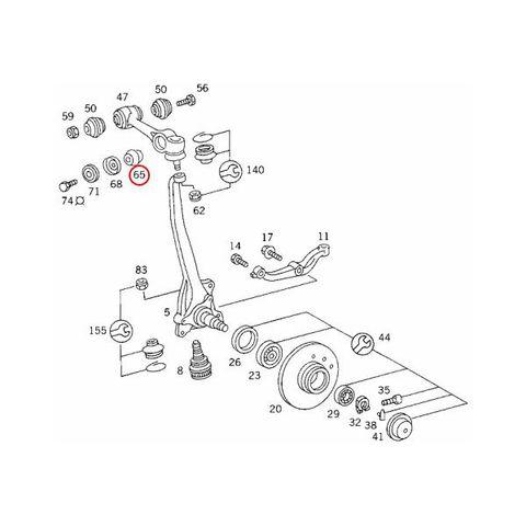 febi bilstein製 ベンツ W116 フロント アッパーアームブッシュ アウター 左右4個セット 1163330117 1163334014 08403