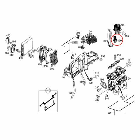 ACM製 ベンツ GLKクラス X204 ブロアレジスター/ブロアレギュレーター 2048707710 GLK300