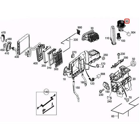 純正OEM BEHR製 ベンツ GLKクラス X204 ブロアモーター/ブロアファン 左ハンドル車用  8EW351043-101 2128200708 GLK300 GLK350