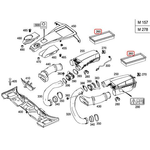 純正OEM MANN製 ベンツ W218 エアフィルター/エアクリーナー/エアエレメント 2枚セット M278 M157 エンジン用 2780940004 CLS550