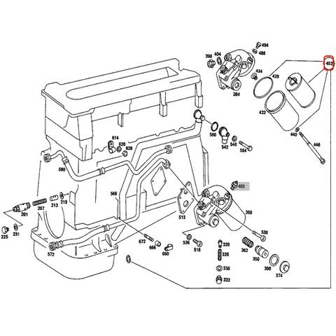 ベンツ Sクラス W116 エンジンオイルフィルター/オイルエレメント M116 M117 M110 エンジン用 0001800609 280S 280SE 350SE 450SE