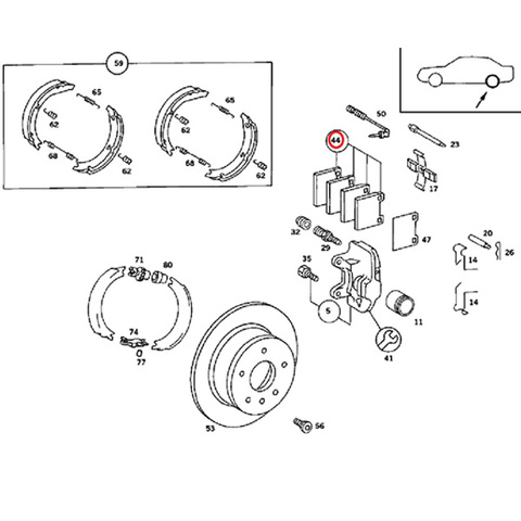 ATE製ベンツR107リア/リヤ ブレーキパッド左右セット0004205720 0004206220 0004207620 280SL300SL350SL380SL420SL450SL500SL