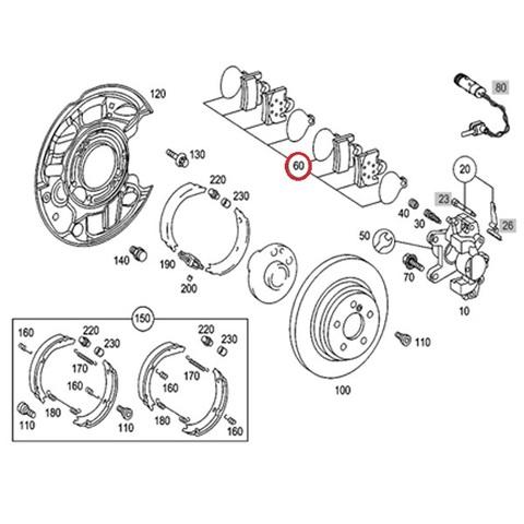 Brembo製 ベンツ SLKクラス R171 リア/リヤ用 ブレーキパッド/ディスクパッド 左右セット 0034202820 SLK200 SLK280 SLK350