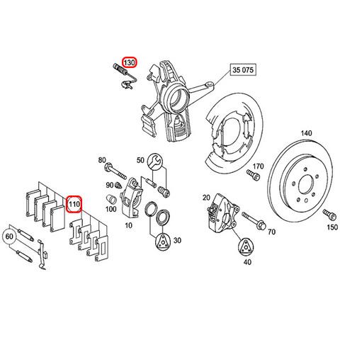 BOSCH製 QuietCast ベンツ SLKクラス R171 フロント用 プレミアム ブレーキパッド/ディスクパッド 左右セット 0044205120 SLK200 SLK280 SLK350