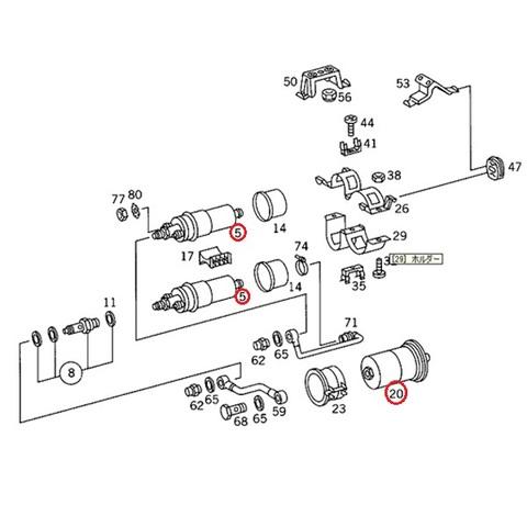 ベンツ 燃料ポンプ2本&燃料フィルター