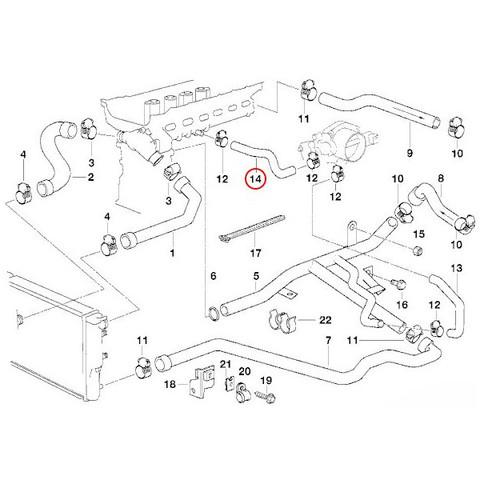 BMW E36 E39 E38 Z3 クーラントホース シリンダーヘッド ~ スロットルハウジング 新品 13541703865