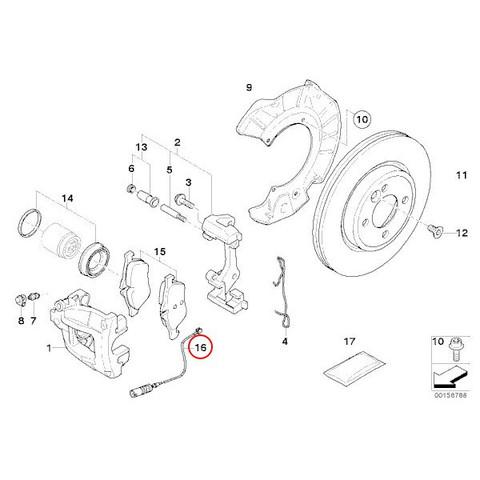 送料200円 BMW MINI R50 R52 R53 クーパー クーパーS ワン フロントブレーキパッドセンサー 新品 34356778175 Cooper