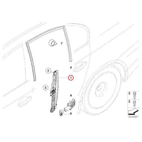 6ヶ月保証付 BMW E60 E61 パワーウインドウレギュレーター 左リア/リヤ 新品 51357075673 525i 540i 545i 550i