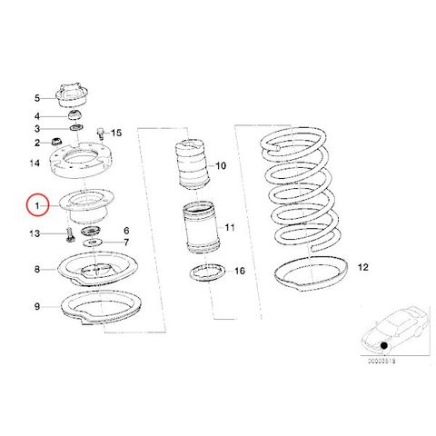 MEYLE製 BMW E24 E28 E30 E34 フロントストラットマウント/アッパーマウント 左右セット 31331139452 31331124508