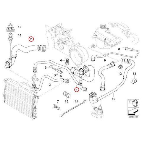 BMW E38 ラジエーターホース アッパーホース&ロアホース 2本セット 11537505228 11537505229 set291 735i 740i