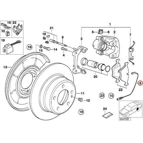 全国送料200円 BMW E32 7シリーズ フロント/リアブレーキパッドセンサー 1本 34351179820 730i 735i 735iL 740i 740iL 750i 750iL