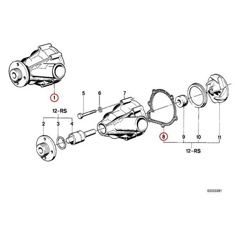 [6ヶ月保証] GRAF製 BMW 6シリーズ E24 ウォーターポンプ M30 直6エンジン ガスケット付き PA379 11519070756 11519070757 635CSi