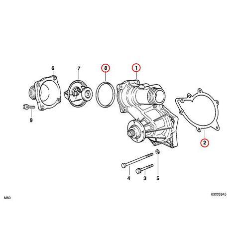 [6ヶ月保証] GRAF製 BMW 7シリーズ E32 ウォーターポンプ M60 V8エンジン ガスケット&Oリング付き PA570 11510007042 730i 740i 740iL