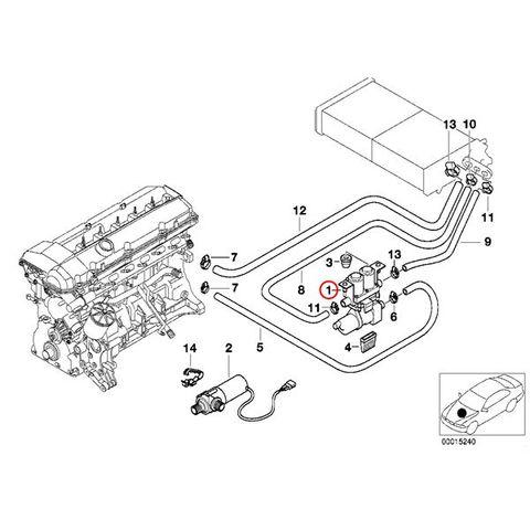 純正 BMW ヒーターバルブ 補助ポンプ付き 7シリーズ E38 5シリーズ E39 Genuine 64118374994 735i 740i 750iL 525i 528i 540i M5