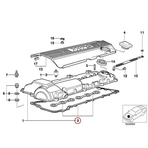 [訳あり] BMW E36 E39 Z3(E36) シリンダーヘッドカバーガスケット 液体ガスケット付き M52/直6 11129070532 KC-027 11120034108