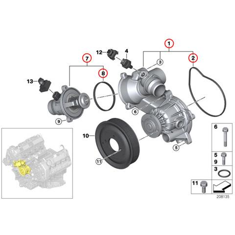 BMW E65 E66 ウォーターポンプ&サーモスタット(105℃) N62 N73エンジン 11517586780 11517507849 11537586885