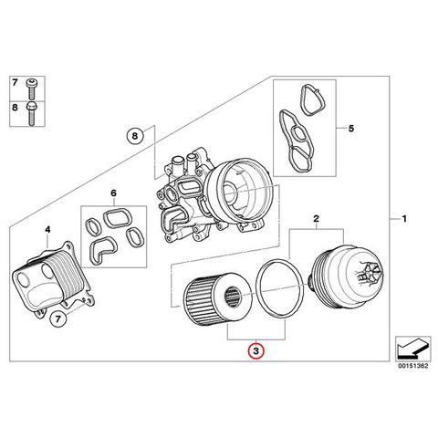 BMW MINI ミニ R56 R57 R55 R60 R58 R59 R61 エンジンオイルフィルター N12 N14 N16 N18エンジン用 11427622446