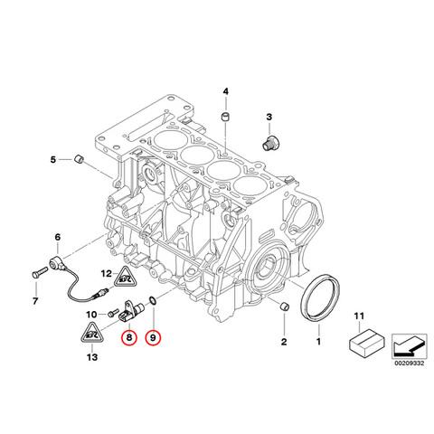 純正OEM VDO BMW MINI R50 R53 R52 クランク角センサー Oリング付 W10 W11エンジン 12141485844 One 1.6 Cooper CooperS