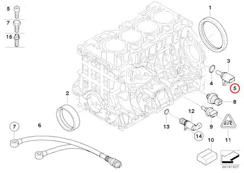 純正OEM BMW E46 E90 E91 E92 クランク角センサー Oリング付き N42 N45 N45N N46 N46N S54 エンジン用 13627548994 318i 318Ci