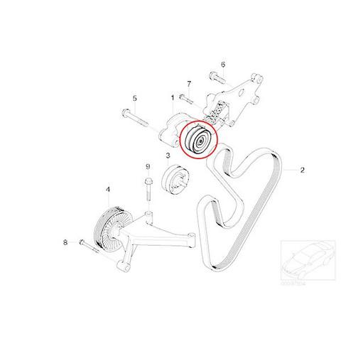 OPTIMAL製 BMW MINI ミニ R53 R52 ベルトテンショナープーリー W11 直4エンジン 11288620210 11287509476 CooperS