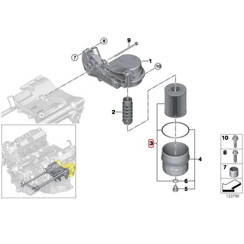純正OEM Hengst製BMW XモデルX5(E70)オイルフィルター/オイルエレメントN62N N73エンジン用11427542021 E203H04D67 4.8i/xDrive48i