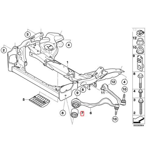 純正OEM LEMFORDER製 BMW 1シリーズ E87 E88 E82 フロント プルストラットブッシュ/スラストロッドブッシュ 左右セット 31120393540 116i 118i