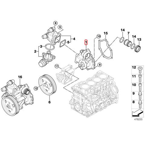 BMW E87E88 ウォーターポンプ/ヒーターポンプ/温水循環ポンプ N42 N45 N45N N46 N46N エンジン用 11517515778 11517511221 116i118i120i