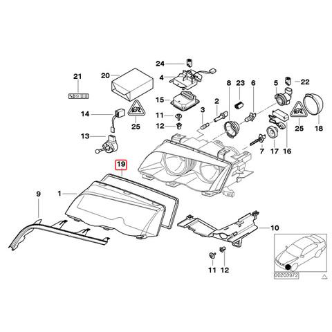 純正 BMW E46 ヘッドライトレンズガスケット 片側
