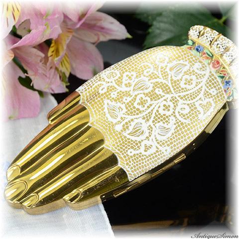 ボルプテ VOLUPTE 1948年 ゴールデンジェスチャー 白レース手袋の手 驚きの造型 Golden Gesture お粉用コンパクト