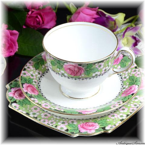 エインズレイ AYNSLEY 明朗なアールデコ 薔薇 ビタースイートな印象のカップ&ソーサー トリオ3点 バラ・桜・黒のガーランド 1934年~1939年