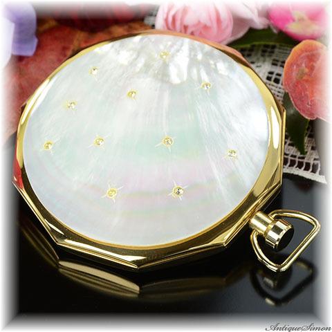 ストラットン Stratton 希少な懐中時計型 未使用パーフェクト マザーオブパールとラインストーン 天然の真珠光沢層 ヴィンテージ・コンパクト