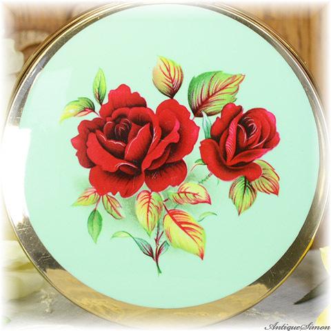 ストラットン Stratton 未使用極上美品 特注新品ミラー 真紅のバラ フレッシュな印象 春の装いに ライムグリーン色エナメル お粉にもプレストにも 薔薇 コンバーチブル コンパクト
