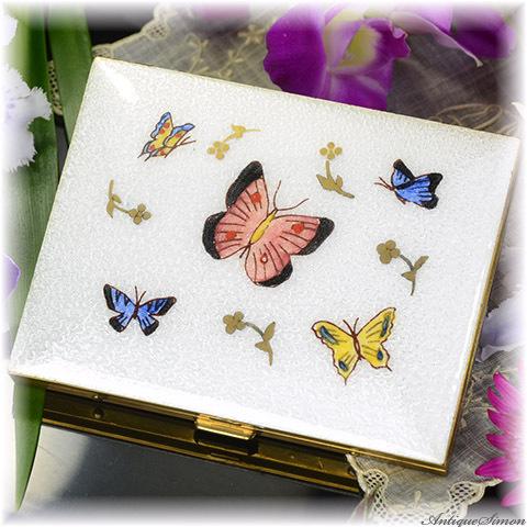 マーヒル Marhill 名刺サイズのカードケース 未使用品 飛び交う蝶々 ギヨシェ 趣味的な小物入れ 金属製の押さえバー ペルラージュ研磨仕上げ Guilloche チョウ シガレットケース