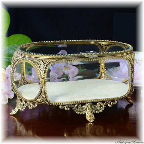 スタイルビルト Stylebuilt NEW YORK ガラス窓と透かし金属細工の大きな宝石箱 重厚な飾り 状態の良いべルベット 極上美品 優美なフォルム ジュエリーボックス 宝石入れ