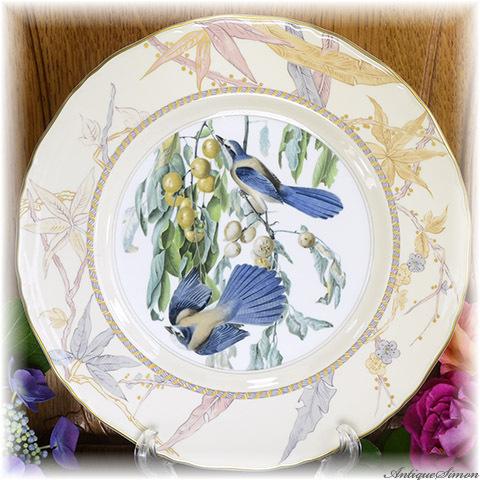 ロイヤルウースター ROYAL WORCESTER 世界限定5000枚 大皿 固有番号あり 鳥類学者オーデュボン氏の水彩画 フロリダのルリカケス2羽 1976年 キャビネット・ディスプレイに最適