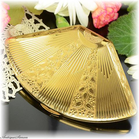 英国メリッサ MELISSA 未使用極上美品 めずらしい扇形 ミッドセンチュリー独特の造形美 レアな希少デザイン 1950年代 お粉用コンパクト